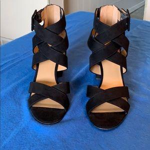 Franco Sarto strappy heeled sandals, black,  8.5.